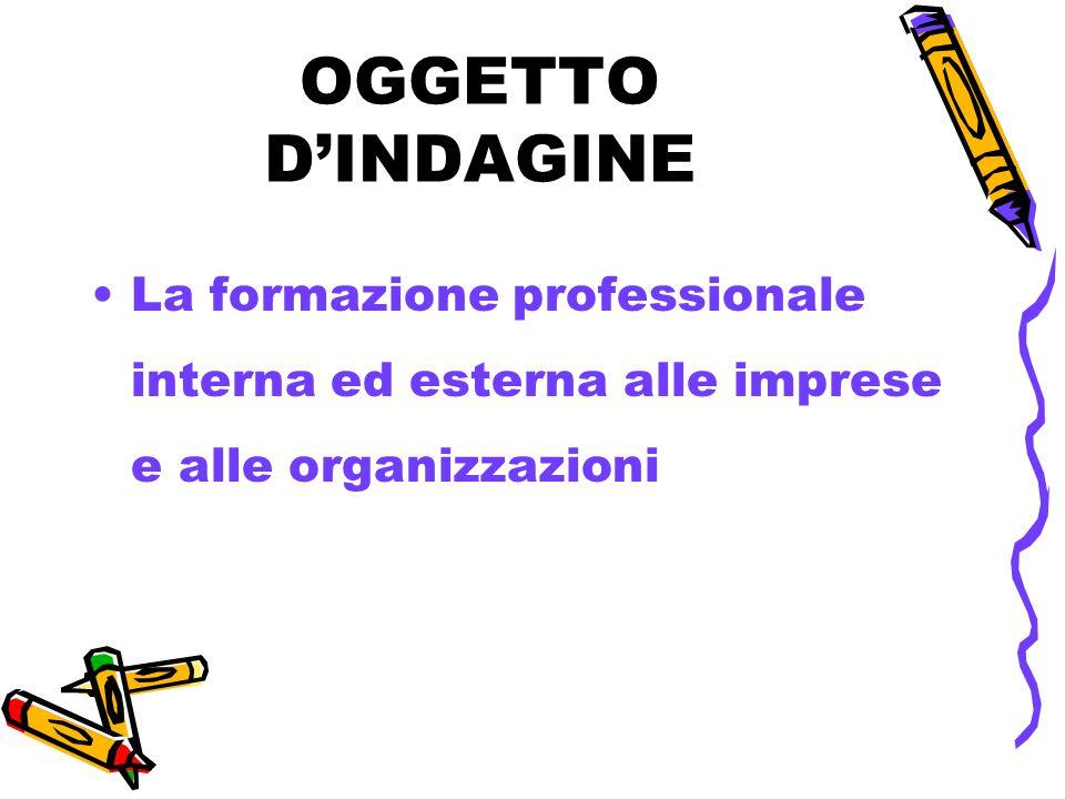 OGGETTO D'INDAGINE La formazione professionale interna ed esterna alle imprese e alle organizzazioni