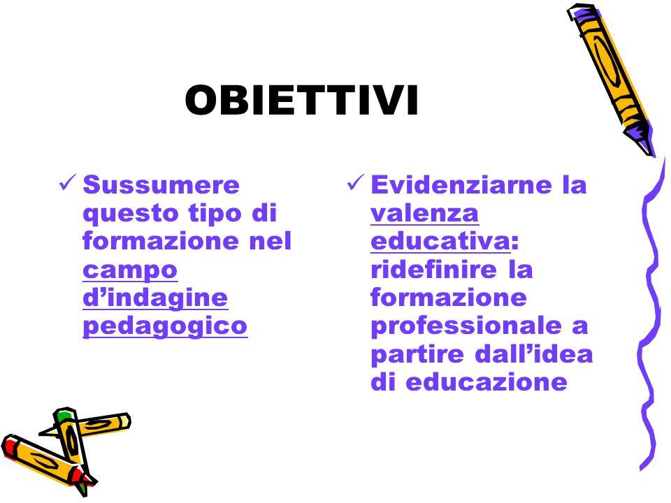 OBIETTIVI Sussumere questo tipo di formazione nel campo d'indagine pedagogico Evidenziarne la valenza educativa: ridefinire la formazione professionale a partire dall'idea di educazione