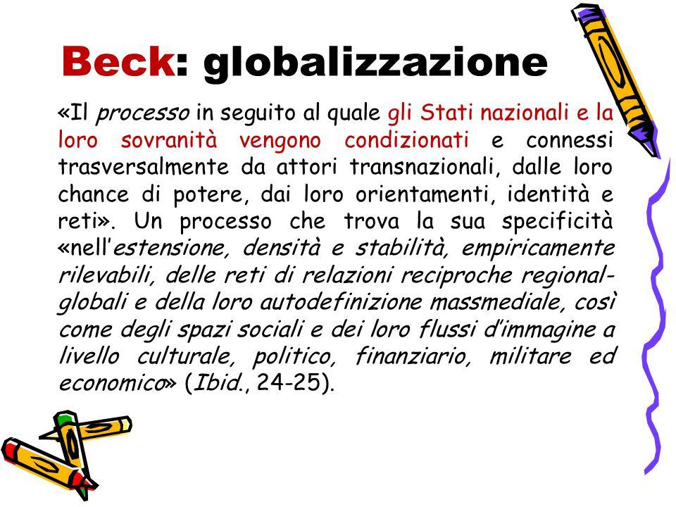 Beck: globalizzazione «Il processo in seguito al quale gli Stati nazionali e la loro sovranità vengono condizionati e connessi trasversalmente da attori transnazionali, dalle loro chance di potere, dai loro orientamenti, identità e reti».