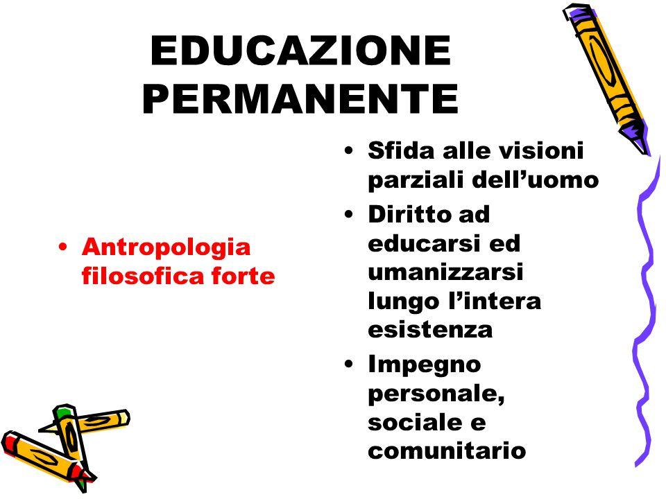 EDUCAZIONE PERMANENTE Antropologia filosofica forte Sfida alle visioni parziali dell'uomo Diritto ad educarsi ed umanizzarsi lungo l'intera esistenza Impegno personale, sociale e comunitario