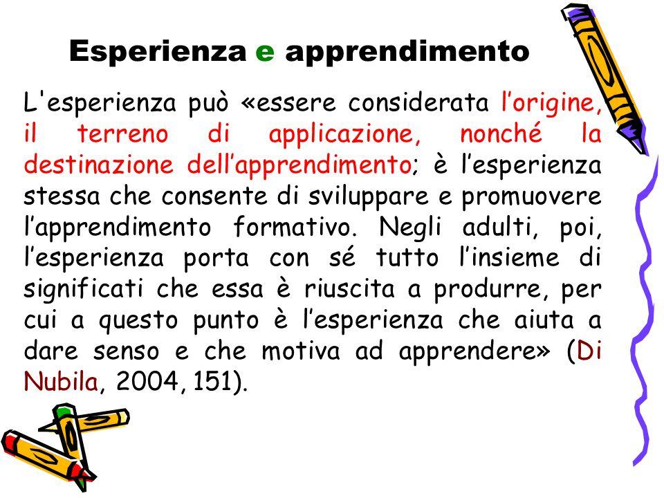 Esperienza e apprendimento L esperienza può «essere considerata l'origine, il terreno di applicazione, nonché la destinazione dell'apprendimento; è l'esperienza stessa che consente di sviluppare e promuovere l'apprendimento formativo.