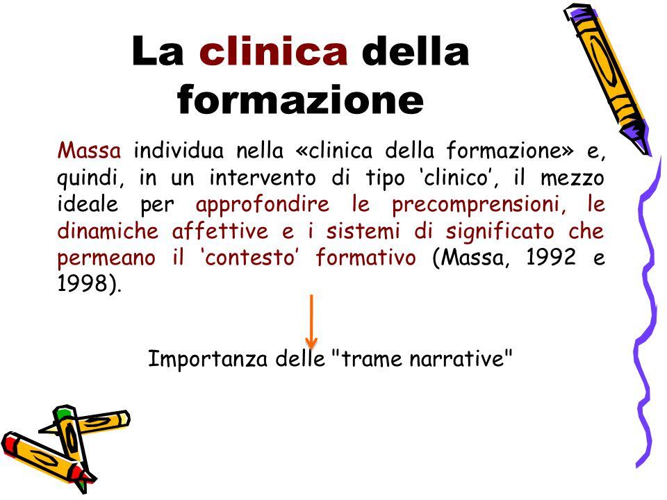 La clinica della formazione Massa individua nella «clinica della formazione» e, quindi, in un intervento di tipo 'clinico', il mezzo ideale per approfondire le precomprensioni, le dinamiche affettive e i sistemi di significato che permeano il 'contesto' formativo (Massa, 1992 e 1998).