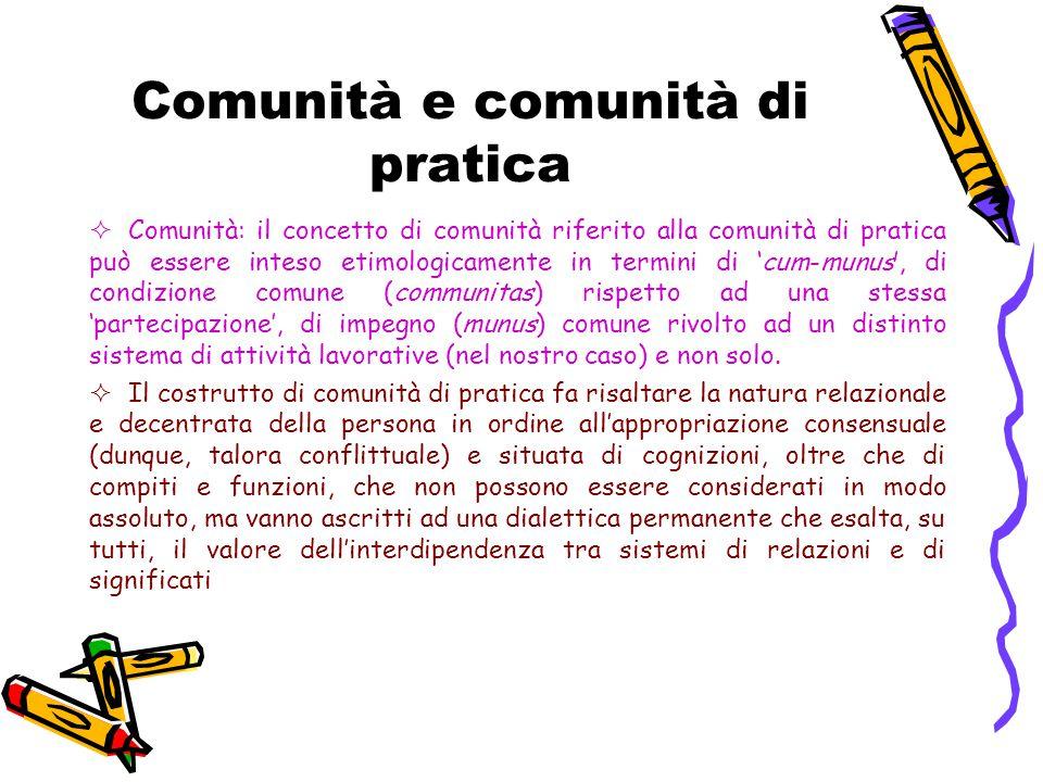 Comunità e comunità di pratica  Comunità: il concetto di comunità riferito alla comunità di pratica può essere inteso etimologicamente in termini di 'cum-munus', di condizione comune (communitas) rispetto ad una stessa 'partecipazione', di impegno (munus) comune rivolto ad un distinto sistema di attività lavorative (nel nostro caso) e non solo.