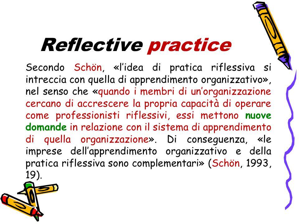 Reflective practice Secondo Schön, «l'idea di pratica riflessiva si intreccia con quella di apprendimento organizzativo», nel senso che «quando i membri di un'organizzazione cercano di accrescere la propria capacità di operare come professionisti riflessivi, essi mettono nuove domande in relazione con il sistema di apprendimento di quella organizzazione».