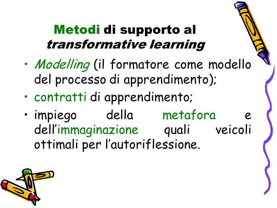Metodi di supporto al transformative learning Modelling (il formatore come modello del processo di apprendimento); contratti di apprendimento; impiego della metafora e dell'immaginazione quali veicoli ottimali per l'autoriflessione.