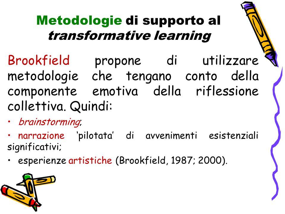 Metodologie di supporto al transformative learning Brookfield propone di utilizzare metodologie che tengano conto della componente emotiva della riflessione collettiva.