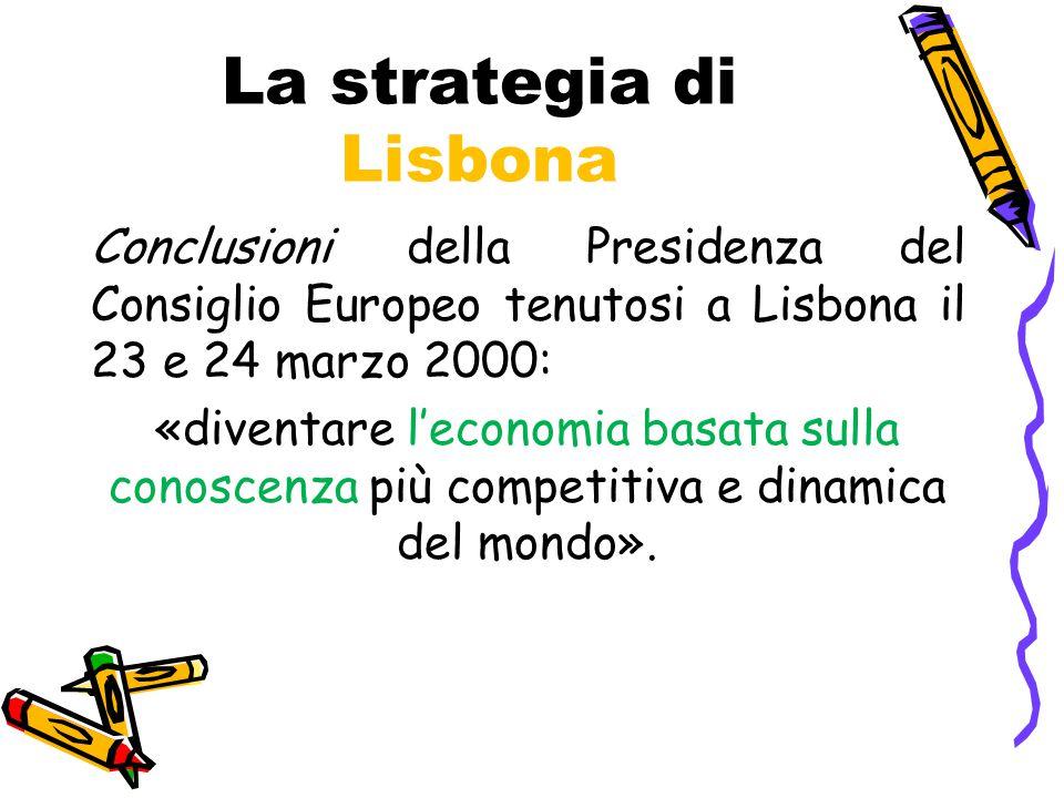 La strategia di Lisbona Conclusioni della Presidenza del Consiglio Europeo tenutosi a Lisbona il 23 e 24 marzo 2000: «diventare l'economia basata sulla conoscenza più competitiva e dinamica del mondo».