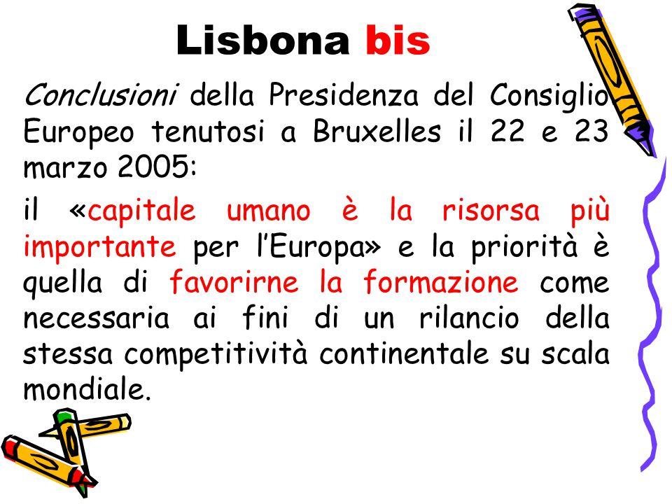 Lisbona bis Conclusioni della Presidenza del Consiglio Europeo tenutosi a Bruxelles il 22 e 23 marzo 2005: il «capitale umano è la risorsa più importante per l'Europa» e la priorità è quella di favorirne la formazione come necessaria ai fini di un rilancio della stessa competitività continentale su scala mondiale.