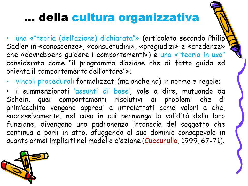 … della cultura organizzativa una « teoria (dell'azione) dichiarata » (articolata secondo Philip Sadler in «conoscenze», «consuetudini», «pregiudizi» e «credenze» che «dovrebbero guidare i comportamenti») e una « teoria in uso considerata come il programma d'azione che di fatto guida ed orienta il comportamento dell'attore »; vincoli procedurali formalizzati (ma anche no) in norme e regole; i summenzionati 'assunti di base', vale a dire, mutuando da Schein, quei comportamenti risolutivi di problemi che di prim'acchito vengono appresi e introiettati come valori e che, successivamente, nel caso in cui permanga la validità della loro funzione, divengono una padronanza inconscia del soggetto che continua a porli in atto, sfuggendo al suo dominio consapevole in quanto ormai impliciti nel modello d'azione (Cuccurullo, 1999, 67-71).