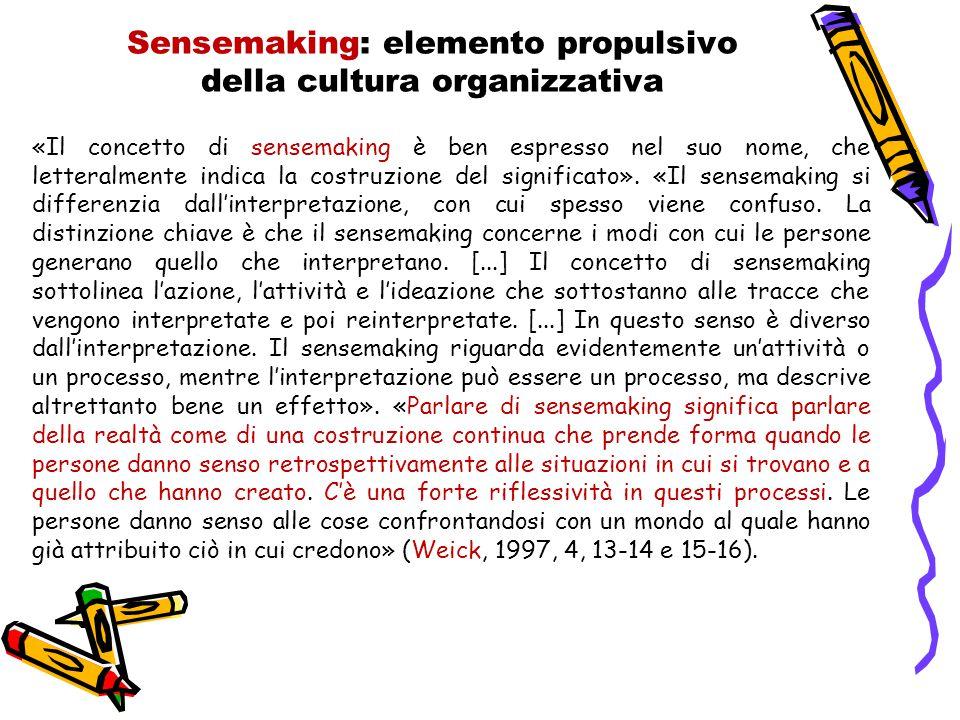 Sensemaking: elemento propulsivo della cultura organizzativa «Il concetto di sensemaking è ben espresso nel suo nome, che letteralmente indica la costruzione del significato».