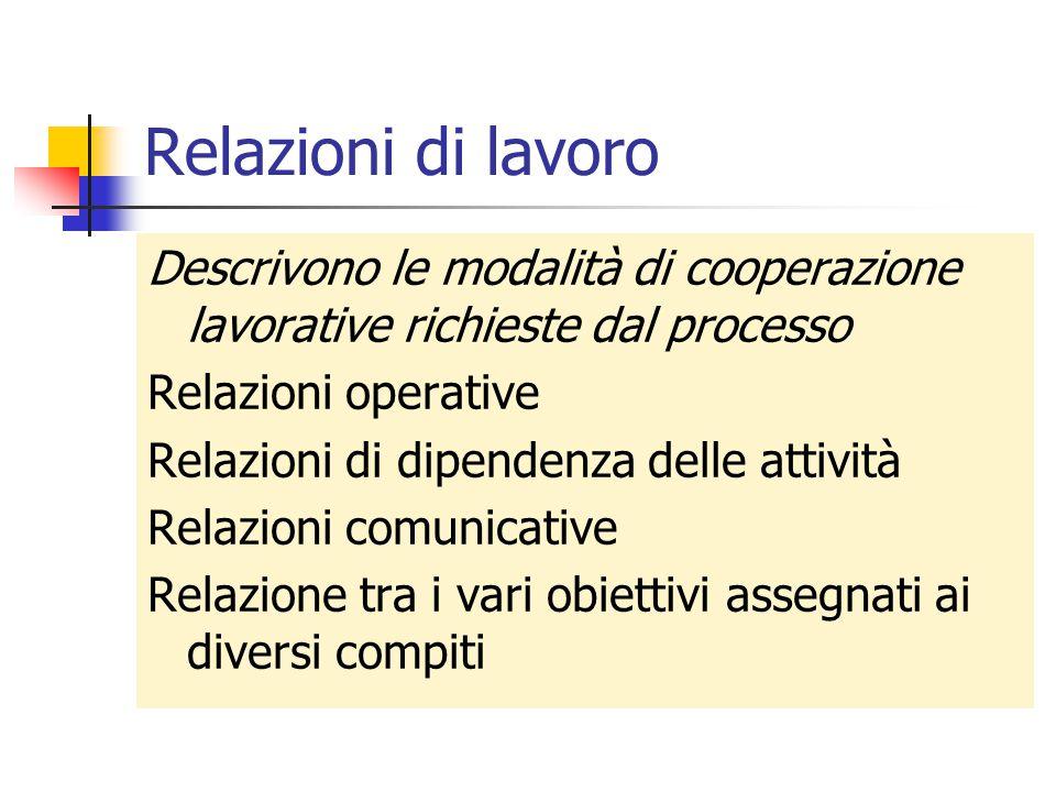 Relazioni di lavoro Descrivono le modalità di cooperazione lavorative richieste dal processo Relazioni operative Relazioni di dipendenza delle attivit