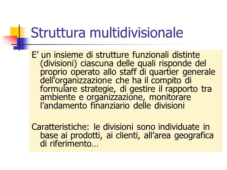 Struttura multidivisionale E' un insieme di strutture funzionali distinte (divisioni) ciascuna delle quali risponde del proprio operato allo staff di