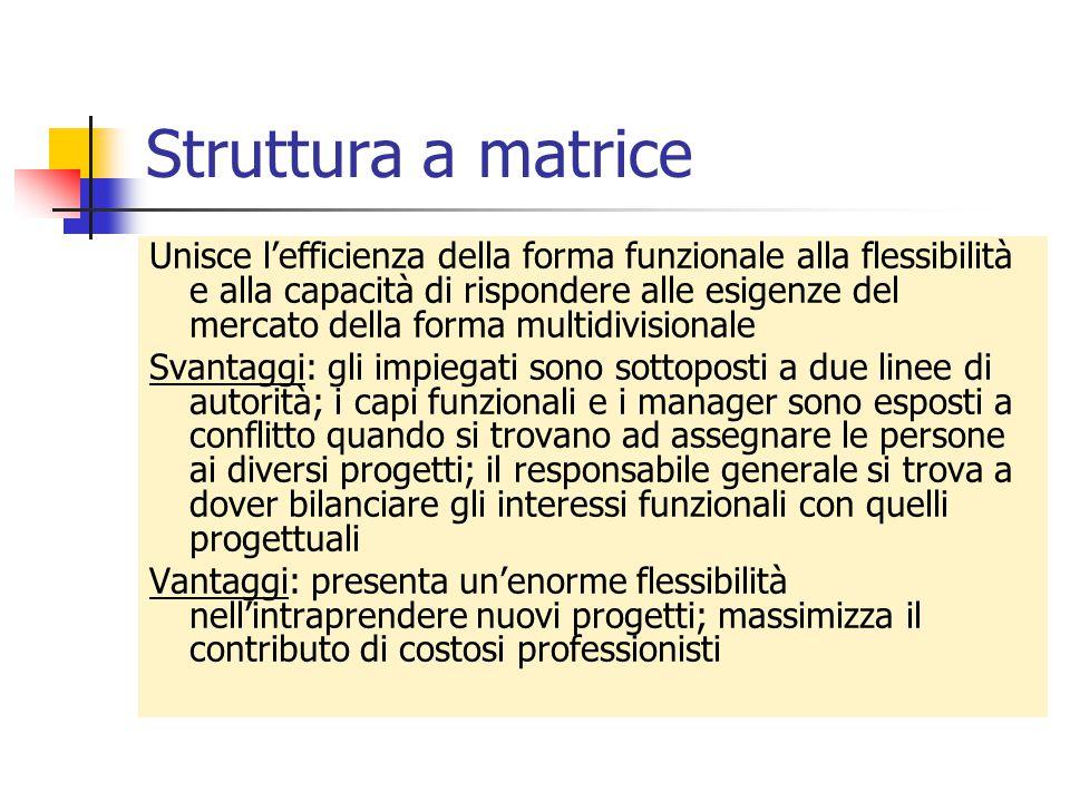 Struttura a matrice Unisce l'efficienza della forma funzionale alla flessibilità e alla capacità di rispondere alle esigenze del mercato della forma m