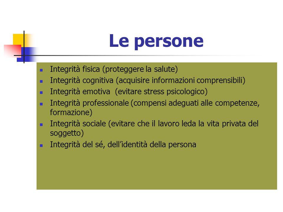 Le persone Integrità fisica (proteggere la salute) Integrità cognitiva (acquisire informazioni comprensibili) Integrità emotiva (evitare stress psicol