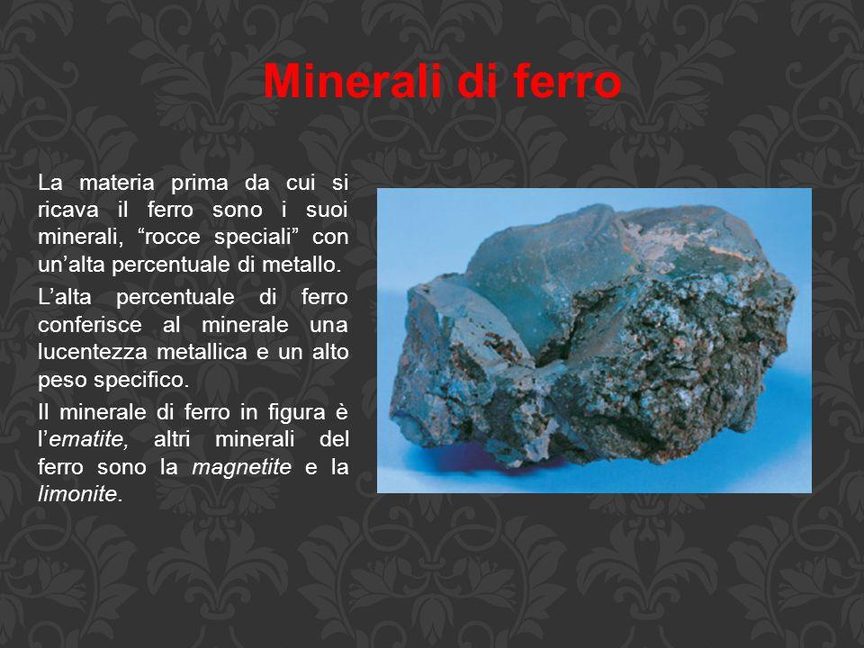 """Minerali di ferro La materia prima da cui si ricava il ferro sono i suoi minerali, """"rocce speciali"""" con un'alta percentuale di metallo. L'alta percent"""