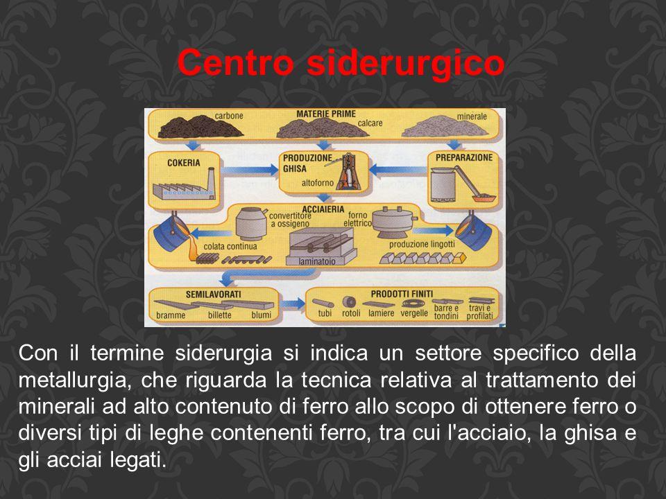 Centro siderurgico Con il termine siderurgia si indica un settore specifico della metallurgia, che riguarda la tecnica relativa al trattamento dei min