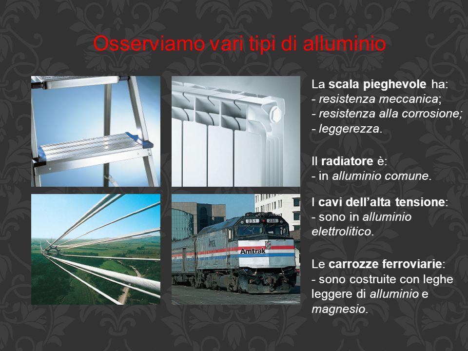 Osserviamo vari tipi di alluminio La scala pieghevole ha: - resistenza meccanica; - resistenza alla corrosione; - leggerezza. Il radiatore è: - in all