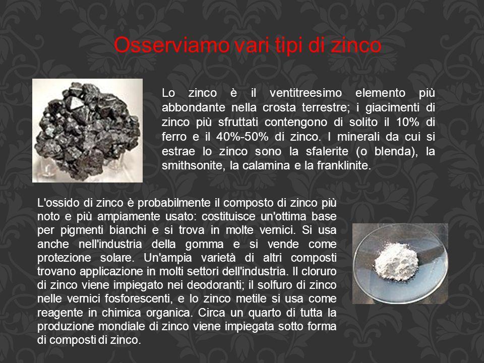 Osserviamo vari tipi di zinco Lo zinco è il ventitreesimo elemento più abbondante nella crosta terrestre; i giacimenti di zinco più sfruttati contengo