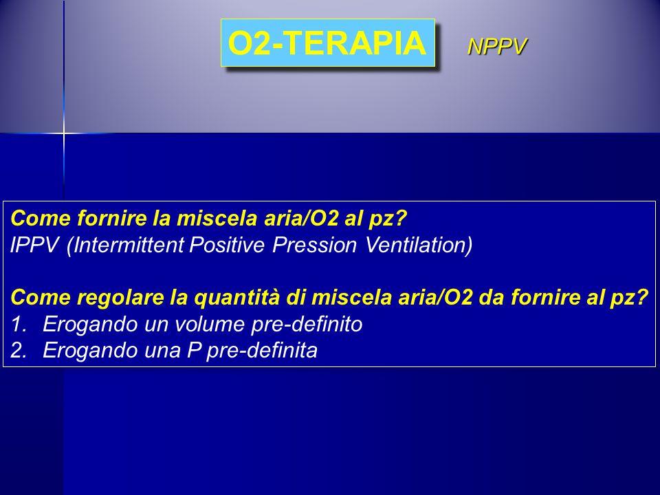 Come fornire la miscela aria/O2 al pz? IPPV (Intermittent Positive Pression Ventilation) Come regolare la quantità di miscela aria/O2 da fornire al pz