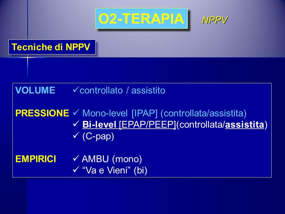 O2-TERAPIA Tecniche di NPPV NPPV VOLUME controllato / assistito PRESSIONE Mono-level [IPAP] (controllata/assistita) Bi-level [EPAP/PEEP](controllata/a