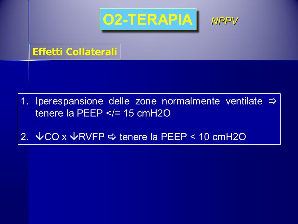 1.Iperespansione delle zone normalmente ventilate  tenere la PEEP </= 15 cmH2O 2.  CO x  RVFP  tenere la PEEP < 10 cmH2O O2-TERAPIA NPPV Effetti C