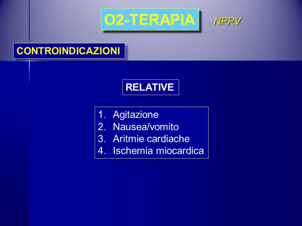 CONTROINDICAZIONI O2-TERAPIA NPPV 1.Agitazione 2.Nausea/vomito 3.Aritmie cardiache 4.Ischemia miocardica 1.Agitazione 2.Nausea/vomito 3.Aritmie cardia