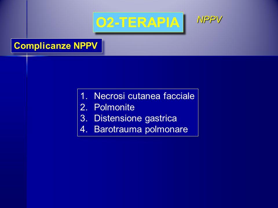 O2-TERAPIA Complicanze NPPV NPPV 1.Necrosi cutanea facciale 2.Polmonite 3.Distensione gastrica 4.Barotrauma polmonare 1.Necrosi cutanea facciale 2.Pol