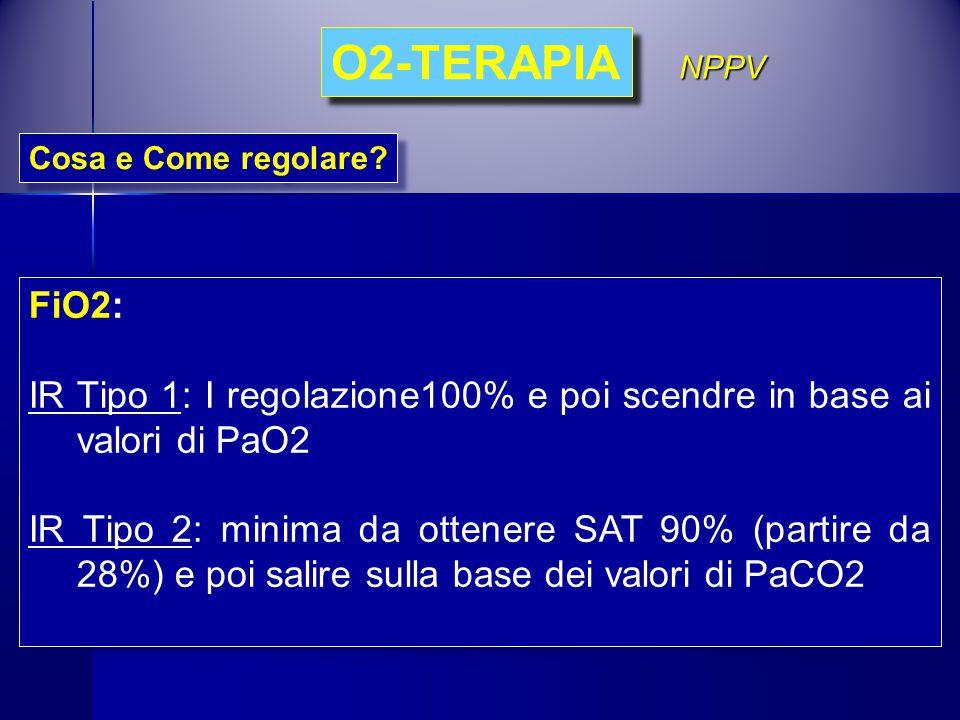 Cosa e Come regolare? O2-TERAPIA FiO2: IR Tipo 1: I regolazione100% e poi scendre in base ai valori di PaO2 IR Tipo 2: minima da ottenere SAT 90% (par