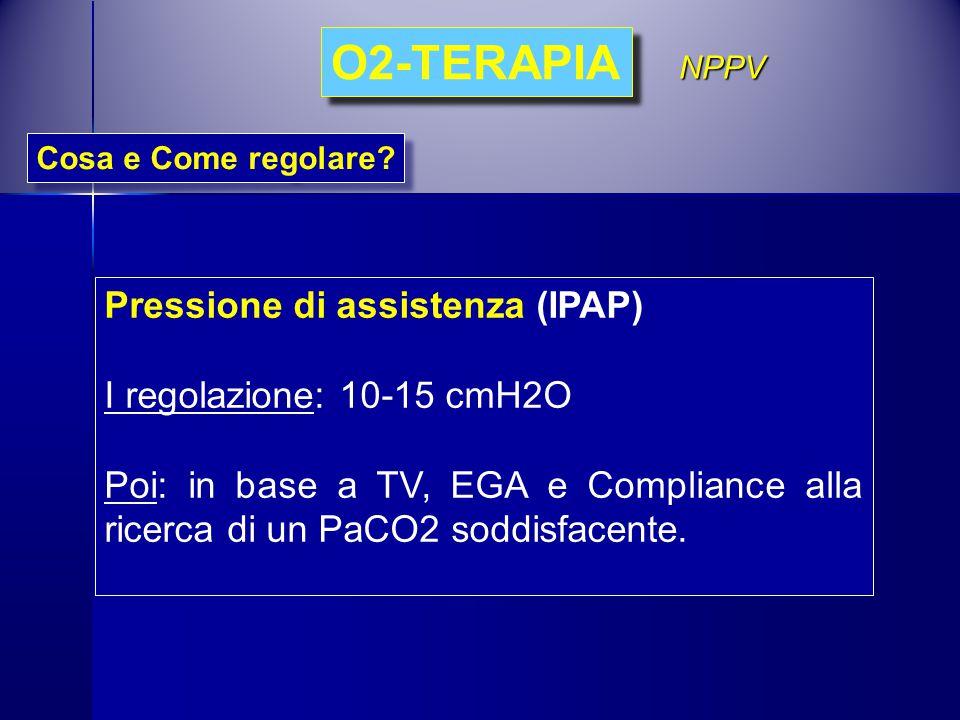 Pressione di assistenza (IPAP) I regolazione: 10-15 cmH2O Poi: in base a TV, EGA e Compliance alla ricerca di un PaCO2 soddisfacente. Cosa e Come rego