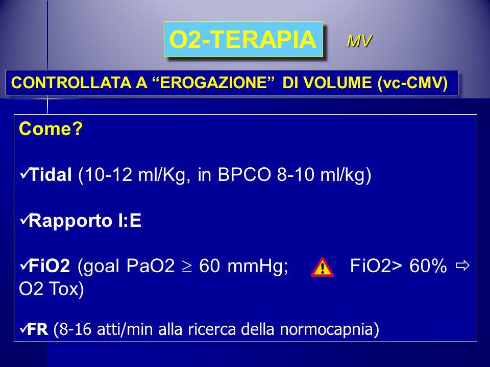 Come? Tidal (10-12 ml/Kg, in BPCO 8-10 ml/kg) Rapporto I:E FiO2 (goal PaO2  60 mmHg; FiO2> 60%  O2 Tox) FR (8-16 atti/min alla ricerca della normoca