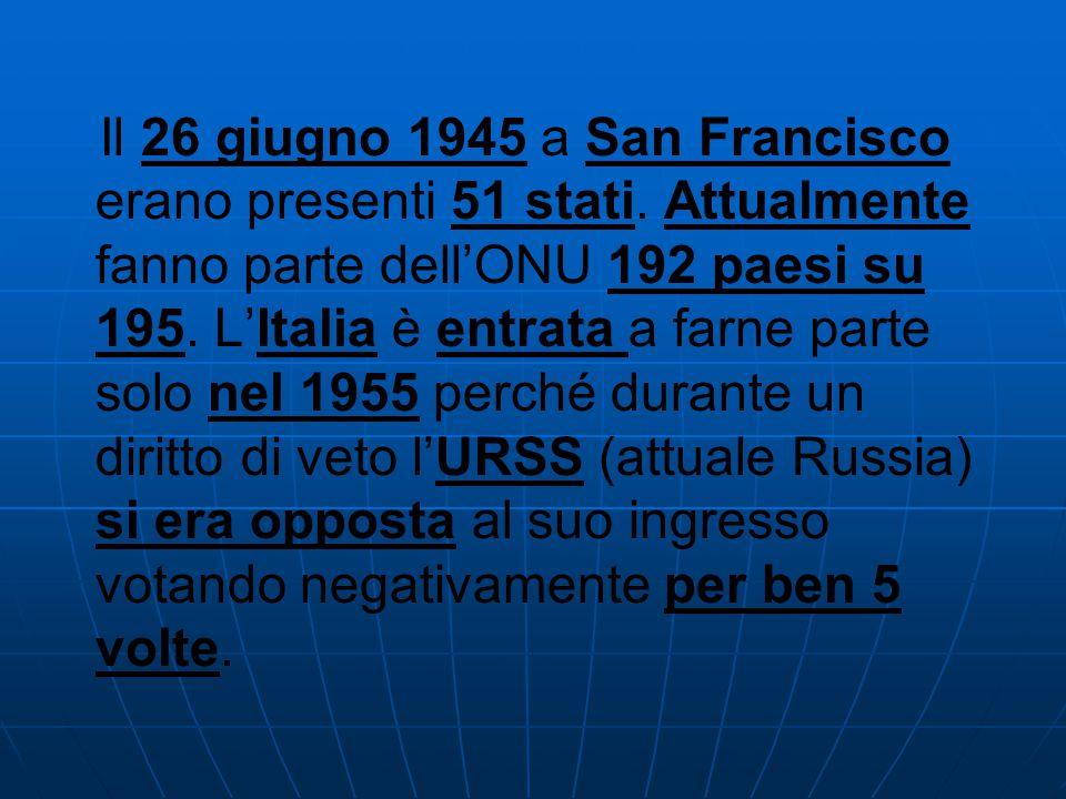 Il 26 giugno 1945 a San Francisco erano presenti 51 stati. Attualmente fanno parte dell'ONU 192 paesi su 195. L'Italia è entrata a farne parte solo ne