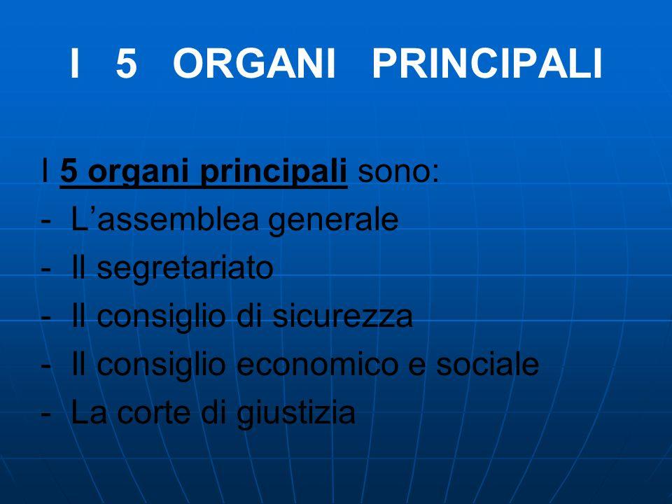 I 5 ORGANI PRINCIPALI I 5 organi principali sono: - L'assemblea generale - Il segretariato - Il consiglio di sicurezza - Il consiglio economico e soci