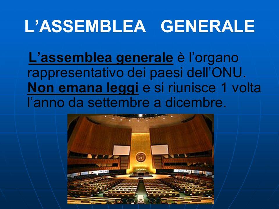 L'ASSEMBLEA GENERALE L'assemblea generale è l'organo rappresentativo dei paesi dell'ONU. Non emana leggi e si riunisce 1 volta l'anno da settembre a d