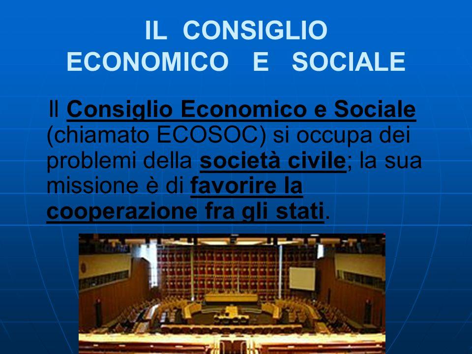 IL CONSIGLIO ECONOMICO E SOCIALE Il Consiglio Economico e Sociale (chiamato ECOSOC) si occupa dei problemi della società civile; la sua missione è di