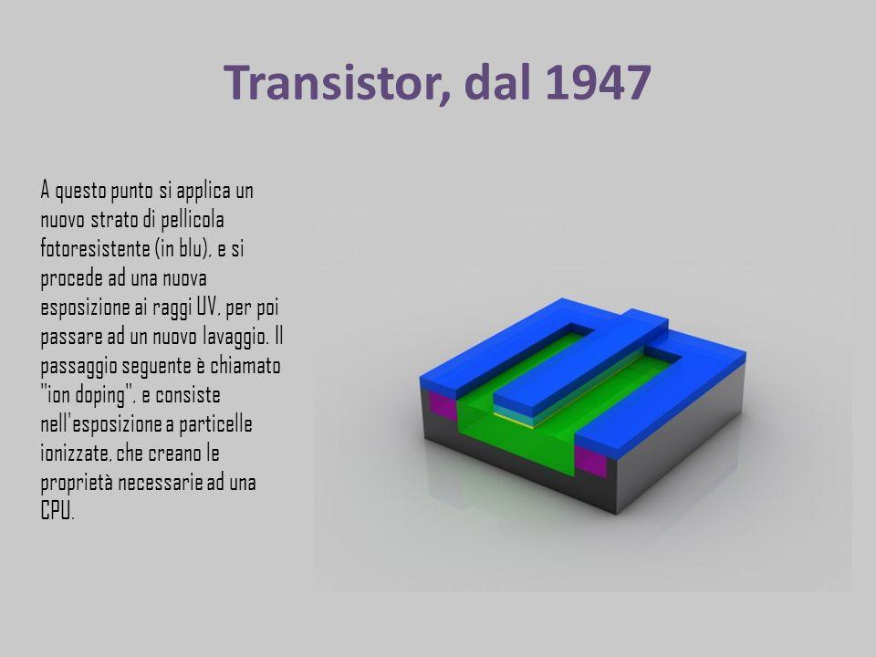 Transistor, dal 1947 A questo punto si applica un nuovo strato di pellicola fotoresistente (in blu), e si procede ad una nuova esposizione ai raggi UV
