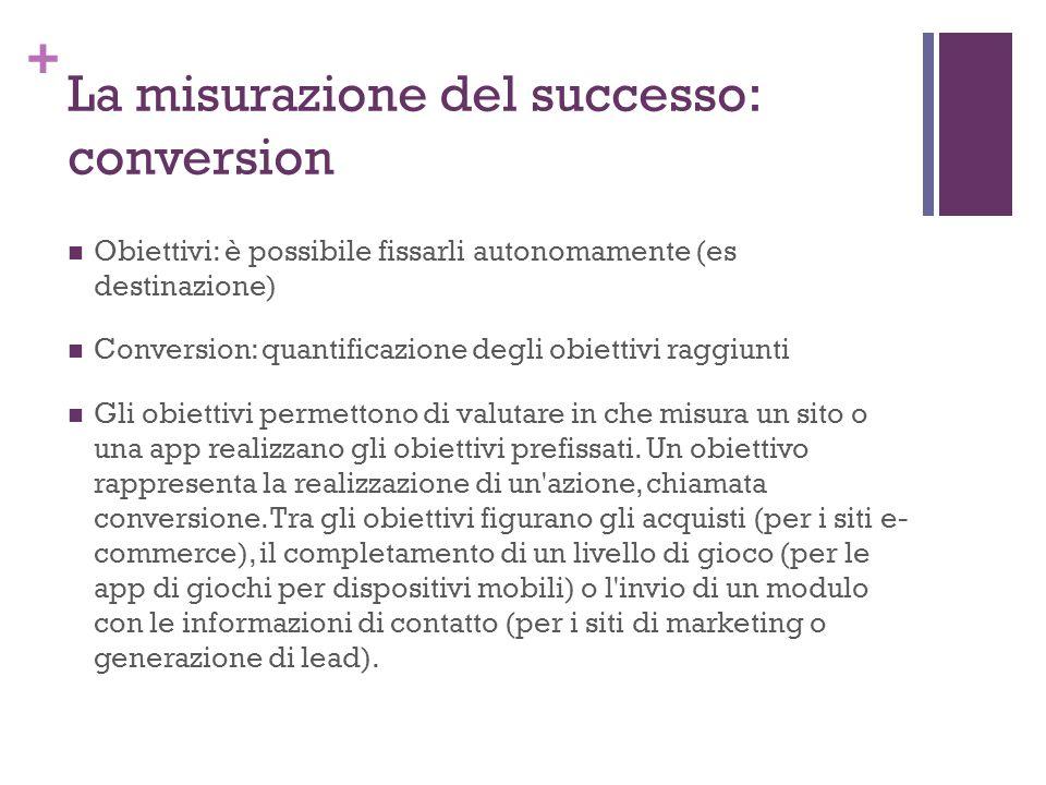 + La misurazione del successo: conversion Obiettivi: è possibile fissarli autonomamente (es destinazione) Conversion: quantificazione degli obiettivi raggiunti Gli obiettivi permettono di valutare in che misura un sito o una app realizzano gli obiettivi prefissati.