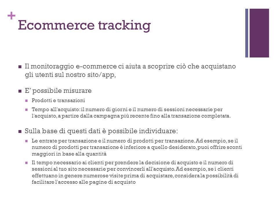 + Ecommerce tracking Il monitoraggio e-commerce ci aiuta a scoprire ciò che acquistano gli utenti sul nostro sito/app, E' possibile misurare Prodotti e transazioni Tempo all acquisto: il numero di giorni e il numero di sessioni necessarie per l acquisto, a partire dalla campagna più recente fino alla transazione completata.