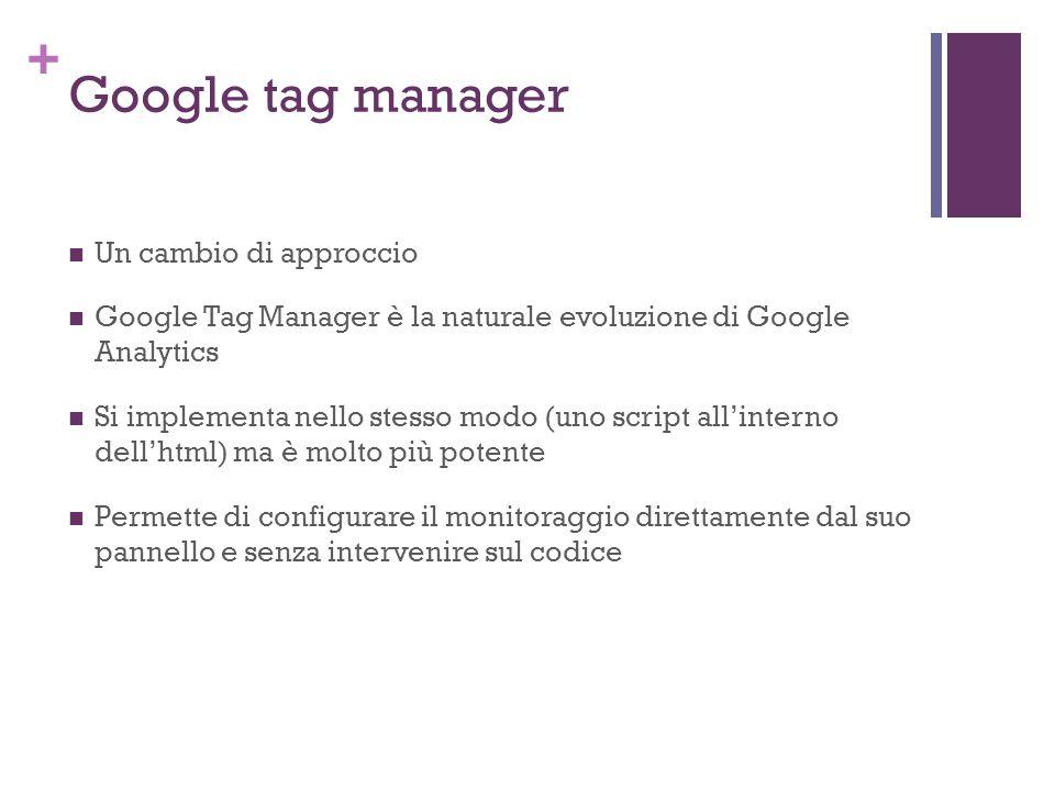 + Google tag manager Un cambio di approccio Google Tag Manager è la naturale evoluzione di Google Analytics Si implementa nello stesso modo (uno script all'interno dell'html) ma è molto più potente Permette di configurare il monitoraggio direttamente dal suo pannello e senza intervenire sul codice