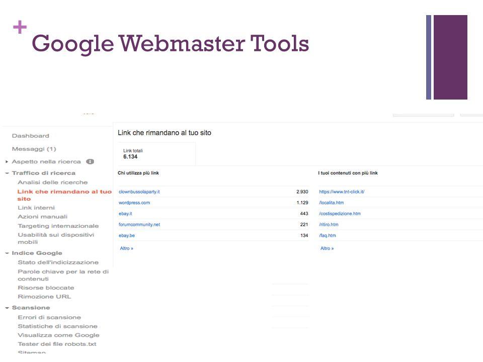 + Google Webmaster Tools