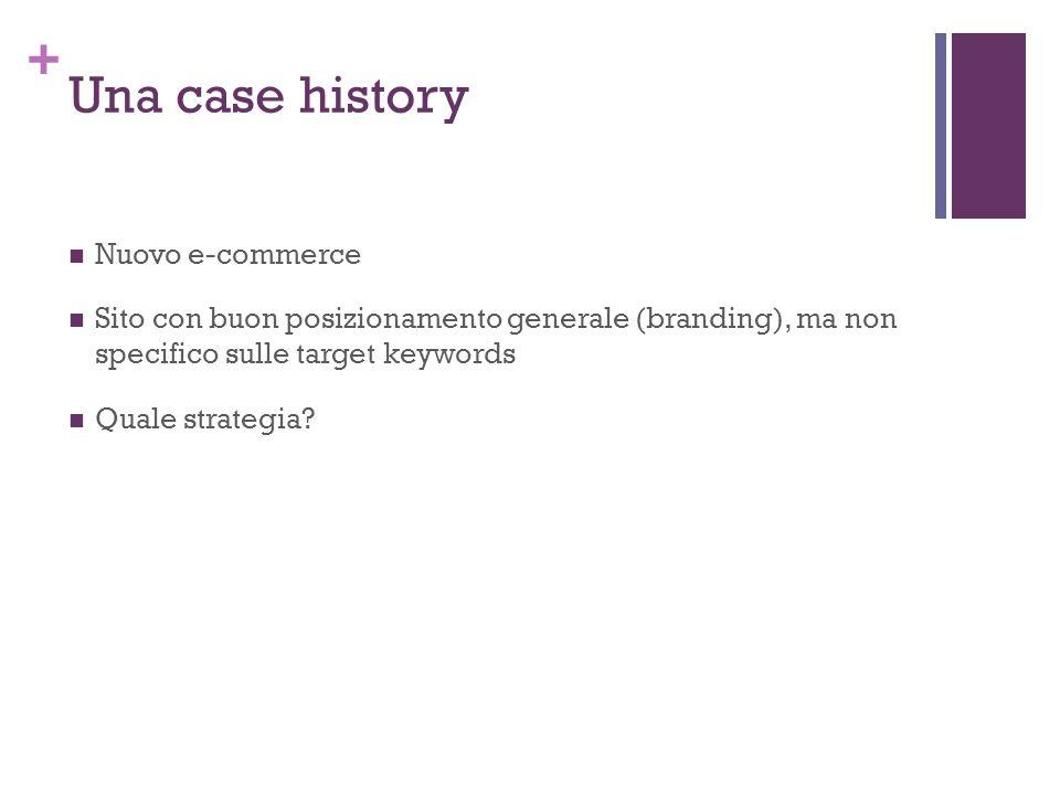 + Una case history Nuovo e-commerce Sito con buon posizionamento generale (branding), ma non specifico sulle target keywords Quale strategia?