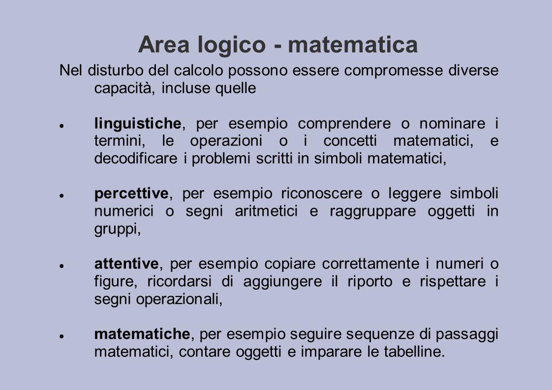 Area logico - matematica Nel disturbo del calcolo possono essere compromesse diverse capacità, incluse quelle linguistiche, per esempio comprendere o