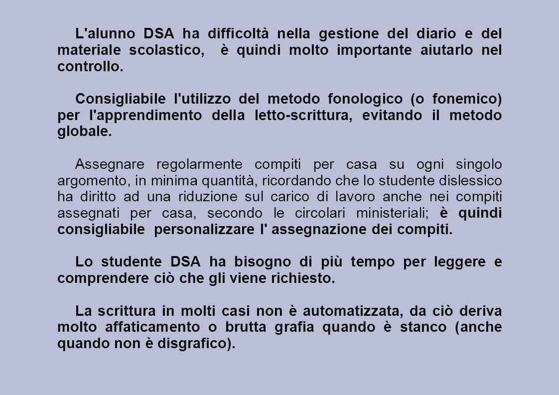 L'alunno DSA ha difficoltà nella gestione del diario e del materiale scolastico, è quindi molto importante aiutarlo nel controllo. Consigliabile l'uti