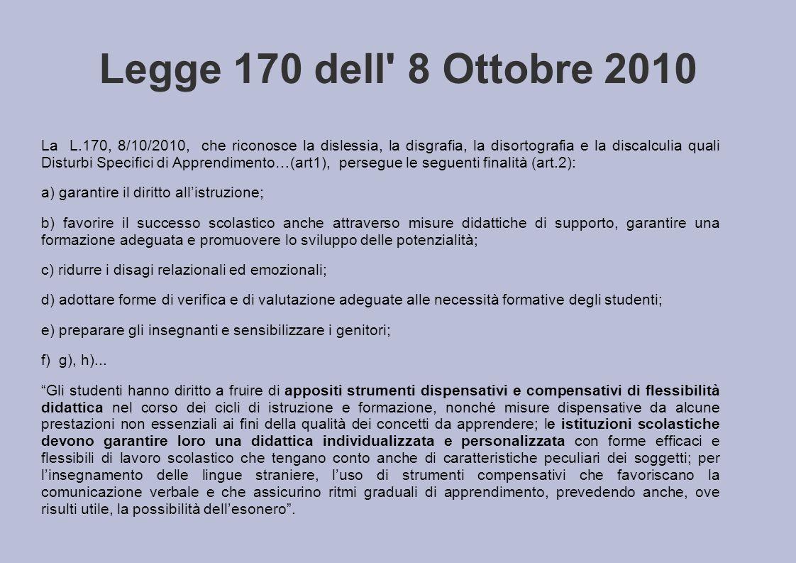Legge 170 dell' 8 Ottobre 2010 La L.170, 8/10/2010, che riconosce la dislessia, la disgrafia, la disortografia e la discalculia quali Disturbi Specifi
