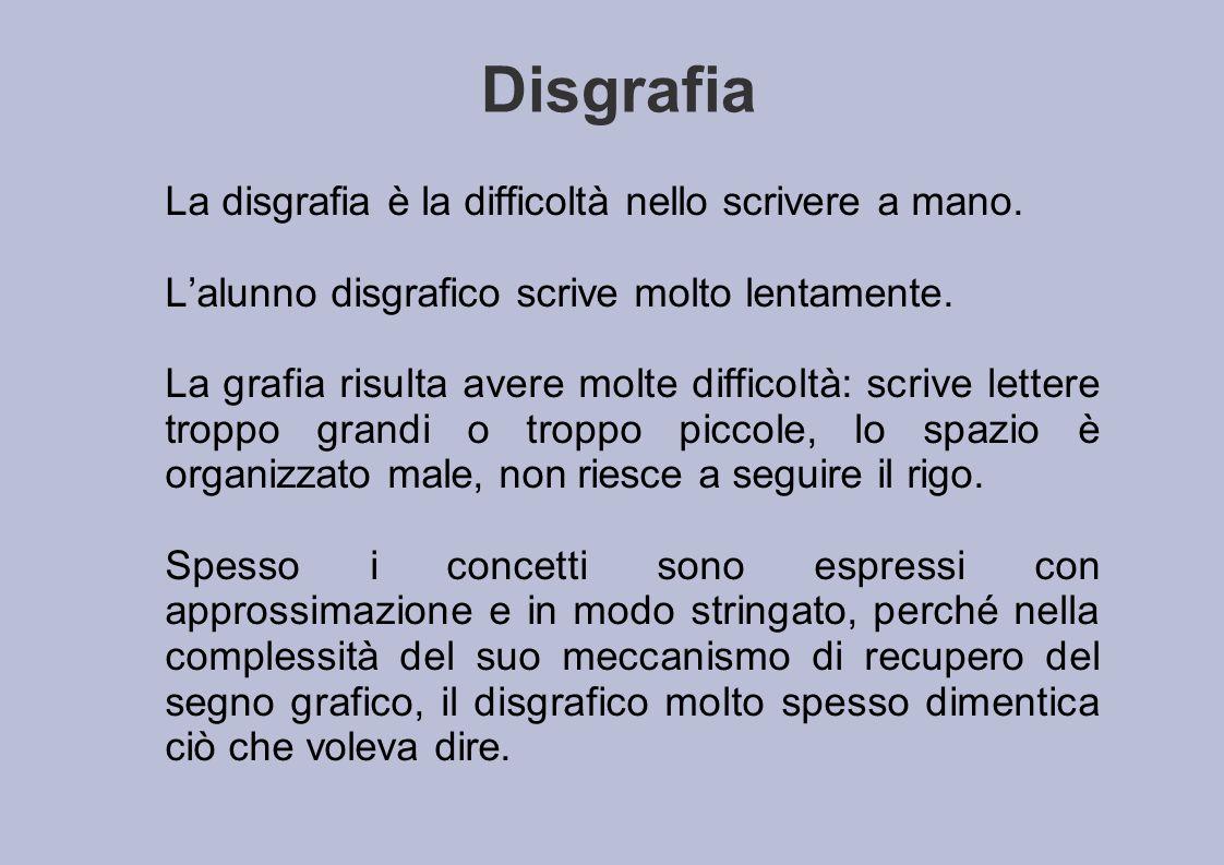 Disgrafia La disgrafia è la difficoltà nello scrivere a mano. L'alunno disgrafico scrive molto lentamente. La grafia risulta avere molte difficoltà: s