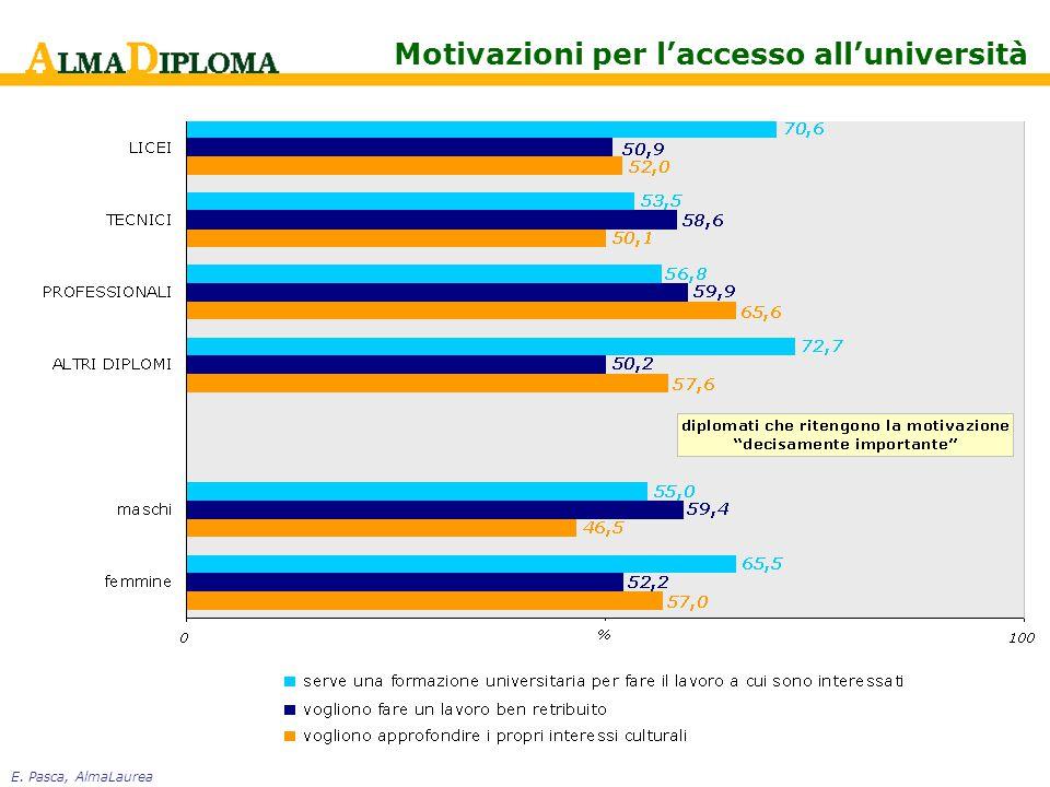 E. Pasca, AlmaLaurea Motivazioni per l'accesso all'università