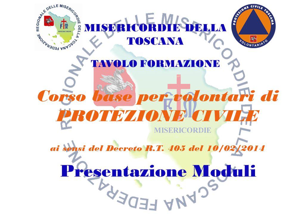 Corso base per volontari di PROTEZIONE CIVILE ai sensi del Decreto R.T. 405 del 10/02/2014 Presentazione Moduli MISERICORDIE DELLA TOSCANA TAVOLO FORM