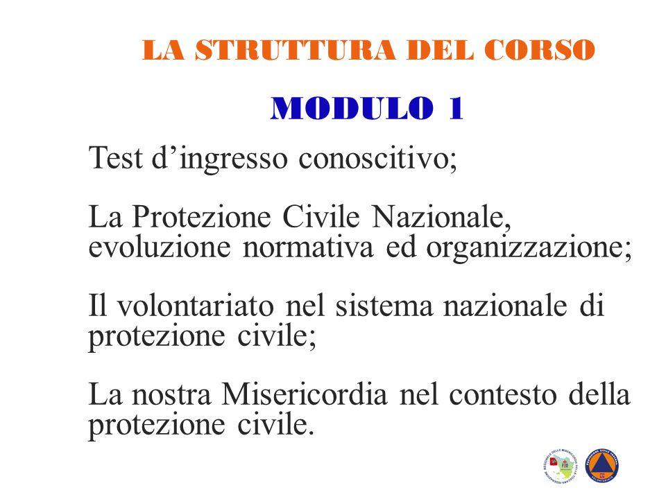 LA STRUTTURA DEL CORSO MODULO 1 Test d'ingresso conoscitivo; La Protezione Civile Nazionale, evoluzione normativa ed organizzazione; Il volontariato n