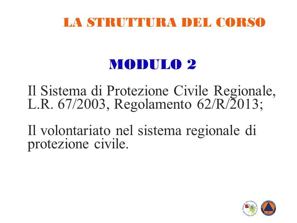 LA STRUTTURA DEL CORSO MODULO 2 Il Sistema di Protezione Civile Regionale, L.R. 67/2003, Regolamento 62/R/2013; Il volontariato nel sistema regionale