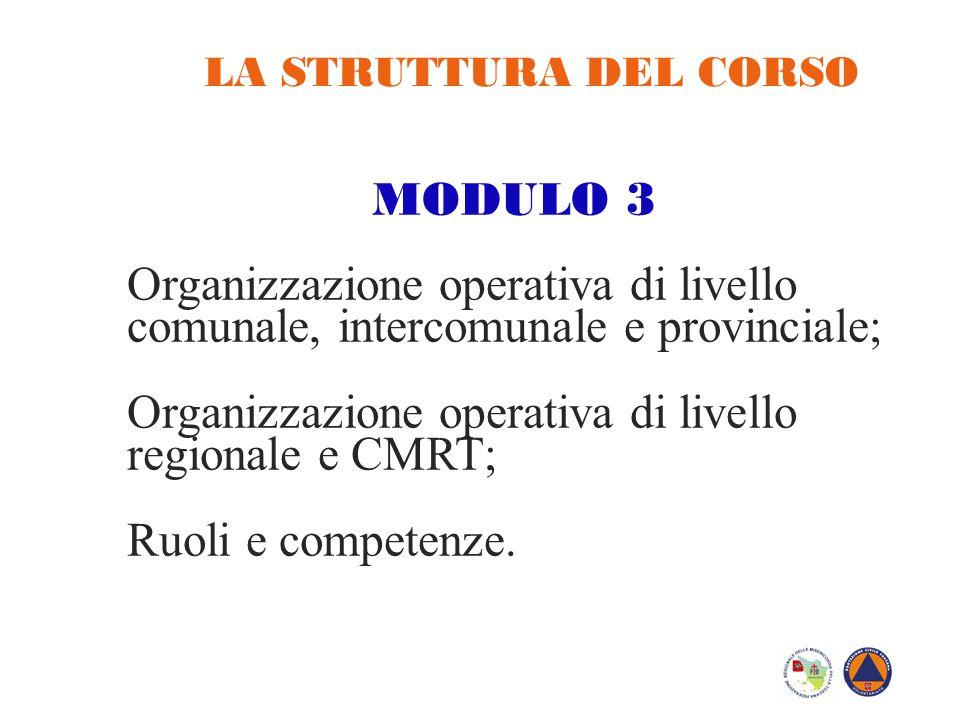 LA STRUTTURA DEL CORSO MODULO 3 Organizzazione operativa di livello comunale, intercomunale e provinciale; Organizzazione operativa di livello regiona
