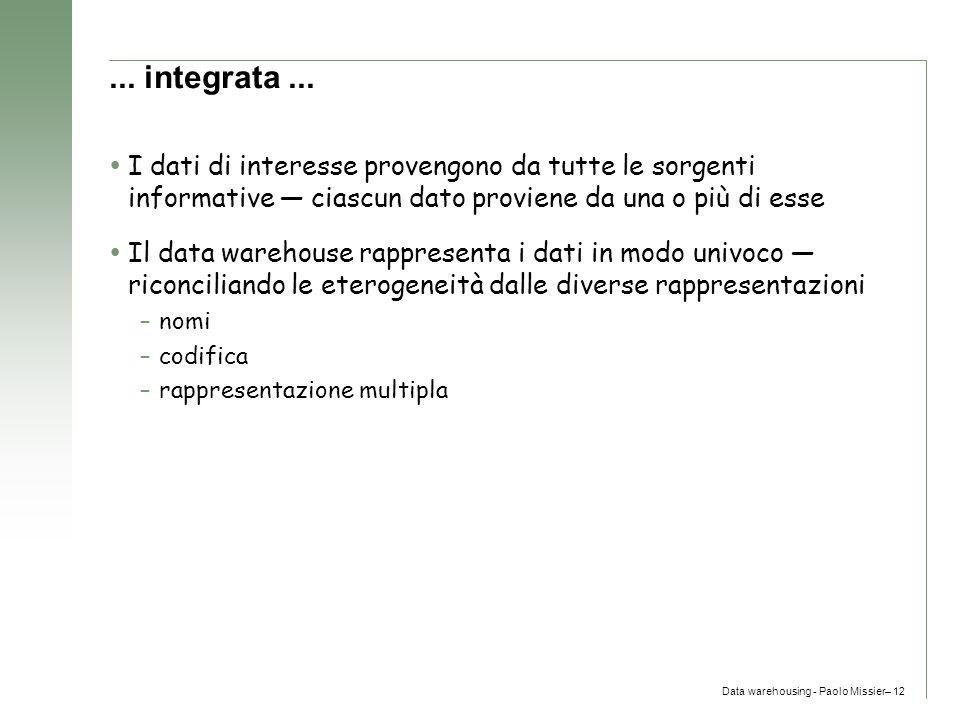 Data warehousing - Paolo Missier– 12... integrata...  I dati di interesse provengono da tutte le sorgenti informative — ciascun dato proviene da una